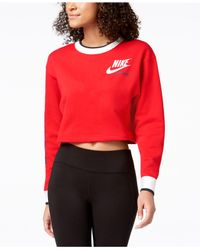 Nike - Red Sportswear Reversible Fleece Cropped Sweatshirt - Lyst
