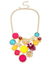 INC International Concepts - Multicolor Gold-tone Pineapple & Multi-stone Statement Necklace - Lyst