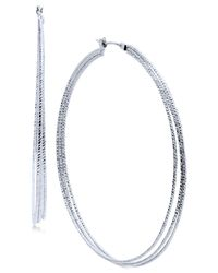 Nine West | Metallic Silver-tone Triple-row Hoop Earrings | Lyst