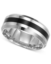 Triton | Black Men's Tungsten Carbide Ring, Comfort Fit Wedding Band | Lyst