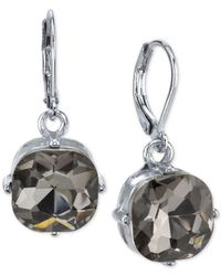 2028 | Metallic Silver-tone Gray Cushion-cut Crystal Drop Earrings | Lyst