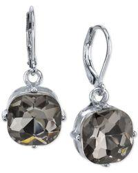 2028 - Metallic Silver-tone Gray Cushion-cut Crystal Drop Earrings - Lyst
