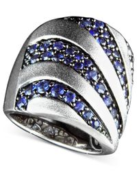 Effy Collection | Blue Sapphire Stripe Band Ring (2-1/3 Ct. T.w.) In Sterling Silver | Lyst