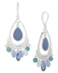 Nine West | Silver-tone Blue Stone Shaky Drop Earrings | Lyst