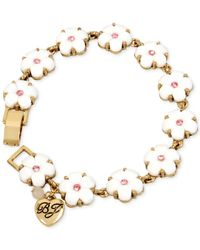 Betsey Johnson - Gold-tone Pink Crystal Flower Bracelet - Lyst