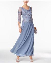 J Kara   Blue Beaded A-line Gown   Lyst