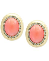 Effy Collection - Metallic Natural Coral (8 X 6mm) And Diamond (1/6 Ct. T.w.) Oval Stud Earrings In 14k Gold - Lyst