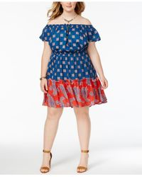Jessica Simpson | Blue Trendy Plus Size Printed Peasant Dress | Lyst