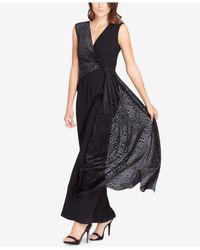 Tahari - Black Petite Metallic-drape Jumpsuit - Lyst