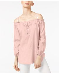 Calvin Klein - Pink Cotton Off-the-shoulder Peasant Top - Lyst