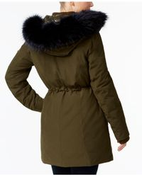 Vince Camuto - Green Mixed-media Layered Parka - Lyst