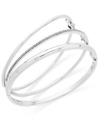 Macy's - Red Diamond (1/4 Ct. T.w.) Stackable Trio Bangle Bracelet Set In 14k Gold-plated Sterling Silver - Lyst