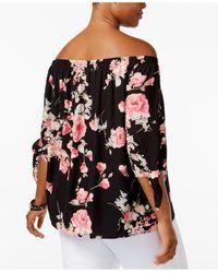 Soprano - Black Trendy Plus Size Tie-cuff Off-the-shoulder Top - Lyst