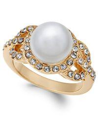 Charter Club - Metallic Gold-tone Pavé & Imitation Pearl Ring - Lyst