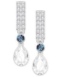 Swarovski | Multicolor Silver-tone Clear & Blue Crystal Drop Earrings | Lyst