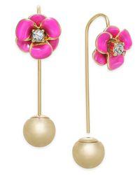 Kate Spade - Pink Gold-tone Pavé & Imitation Pearl Ear Threader Earrings - Lyst