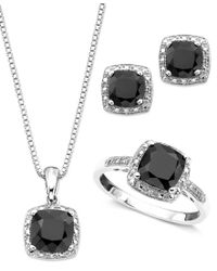 Macy's   Multicolor Sterling Silver Three Piece Set, Onyx And Diamond Accent Ring, Pendant, And Earrings   Lyst