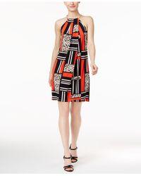 Calvin Klein - Black Printed Shift Dress - Lyst