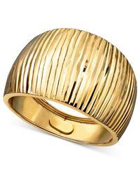 Macy's | Metallic 14k Gold Ring, Diamond Cut Cigar Band | Lyst