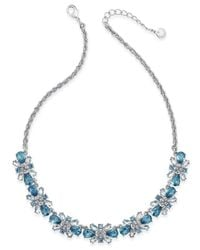 Charter Club | Blue Clear & Colored Crystal Necklace | Lyst