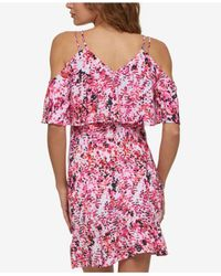 Jessica Simpson | Pink Printed Cold-shoulder Popover Dress | Lyst