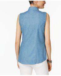 Style & Co. - Blue Sleeveless Denim Shirt - Lyst
