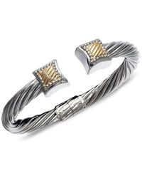 Macy's - Metallic 14k Gold And Sterling Silver Bangle, Square Cable - Lyst