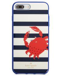 Kate Spade Blue Jeweled Stripe Crab Iphone 8/8 Plus/x Case