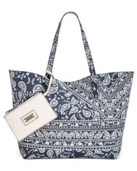 Style & Co. - Multicolor Clean Cut Canvas Reversible Tote With Wristlet - Lyst