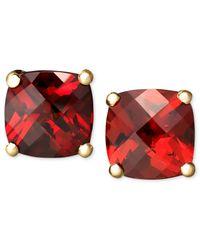 Macy's | Red 14k Gold Earrings, Garnet Cushion Studs (2-1/4 Ct. T.w.) | Lyst