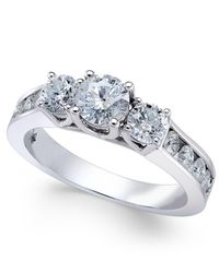 Macy's - Metallic Diamond Trinity Channel-set Engagement Ring (1-1/2 Ct. T.w.) In 14k White Gold - Lyst
