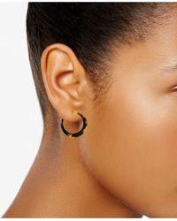 """Lucky Brand - Metallic Gold-tone Tortoise 1-2/3"""" Open Hoop Earrings - Lyst"""