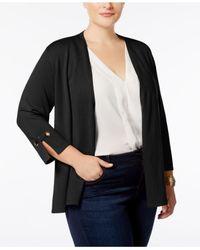 Charter Club - Black Plus Size 3/4-sleeve Swing Cardigan - Lyst