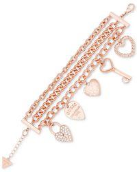 Guess - Multicolor Triple-strand Pavé Charm Bracelet - Lyst