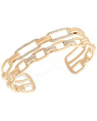 Michael Kors - Metallic Gold-tone Pavé Link Double Chain Cuff Bracelet - Lyst