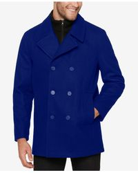 Marc New York - Blue Men's Pea Coat With Rib Knit Inset for Men - Lyst