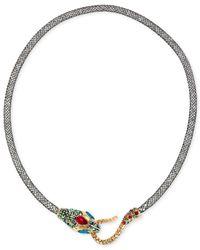 Betsey Johnson - Metallic Gold-tone Mesh Crystal Snake Collar Necklace - Lyst