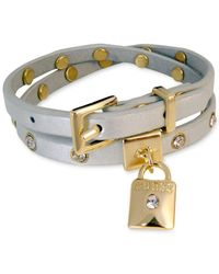 Guess - Metallic Gold-tone Crystal & Lock Charm Gray Leather Double Wrap Buckle Bracelet - Lyst
