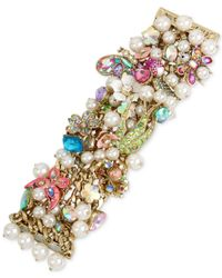 Betsey Johnson - Metallic Gold-tone Stone, Crystal & Imitation Pearl Floral Statement Bracelet - Lyst