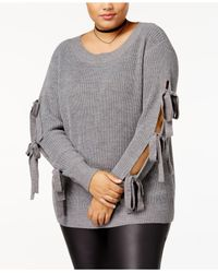 Soprano - Gray Trendy Plus Size Tie-sleeve Sweater - Lyst