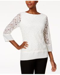 Charter Club - White Lace Top - Lyst