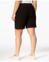 Calvin Klein - Black Performance Plus Size Cuffed Shorts - Lyst