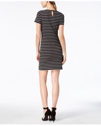 French Connection - Black Striped T-shirt Dress - Lyst