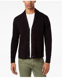 INC International Concepts - Black Men's Ribbed Cardigan for Men - Lyst