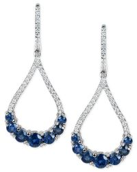 Macy's - Metallic Sapphire (2-3/4 Ct. T.w.) And Diamond (1/2 Ct. T.w.) Fancy Drop Earrings In 14k White Gold - Lyst