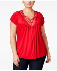 Soprano | Red Trendy Plus Size Embellished V-neck Top | Lyst