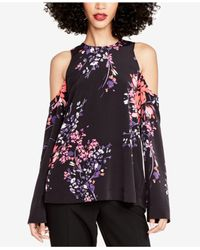 RACHEL Rachel Roy - Black Printed Cold-shoulder Top, Created For Macy's - Lyst
