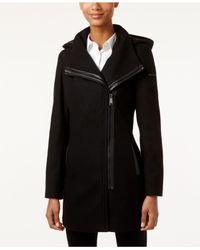 CALVIN KLEIN 205W39NYC - Black Asymmetrical Faux-leather-trim Walker Coat - Lyst