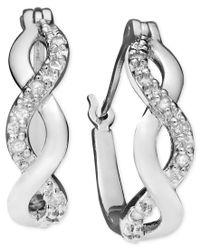 Macy's   Metallic Diamond Infinity Earrings In 18k Gold And Sterling Silver (1/10 Ct. T.w.)   Lyst