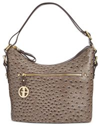 Giani Bernini - Gray Embossed Faux Ostrich Hobo, Created For Macy's - Lyst